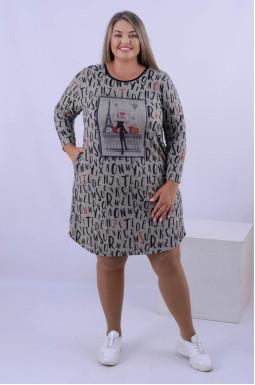 Платье с принтом мини батал