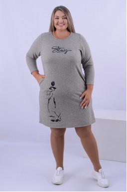 Теплое платье мини с карманами