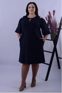 Платье миди с открытыми плечами и шифоновыми рукавами