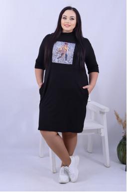 Сукня міді футляр зі стильним малюнком батал