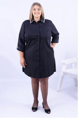 Сукня міні з декором на комірі супер батал