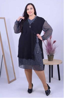 Стильна сукня-двійка з прикрасою батал