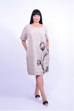 Сукня повсякденна льон супер батал