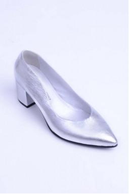 Срібні туфлі на  підборах демі великих розмірів