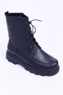 Шкіряні черевики на шнурівці демі великих розмірів
