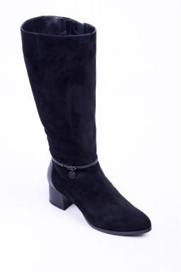 Замшеві чоботи зі шкіряними вставками на підборах великих розмірів