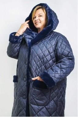 Пальто с эко мехом на капюшоне и карманах супер батал