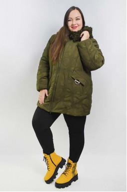 Куртка зимняя с украшенным мехом капюшоном батал