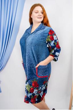 Домашній велюровий халат  батал