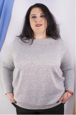 Меланжевая теплая блуза супер батал