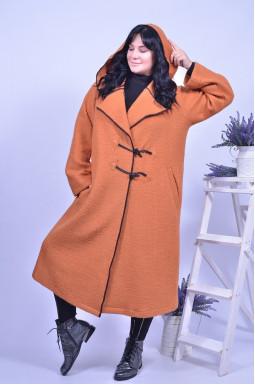 Пальто демі з капюшоном батал