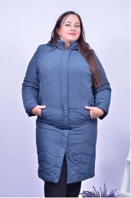 Пальто довге стьобане з прихованою блискавкою