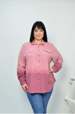 Сорочка рожева з кишенями