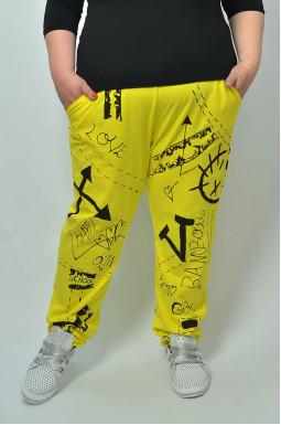 Завужені брюки з принтом батал