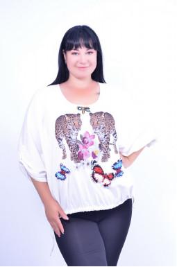Блуза коротка з принтом супер батал
