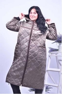 Пальто стьобане з капюшоном супер батал