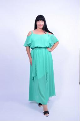 Платье с поясом выпускное батал