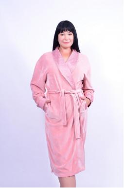 Теплий халат з поясом батал