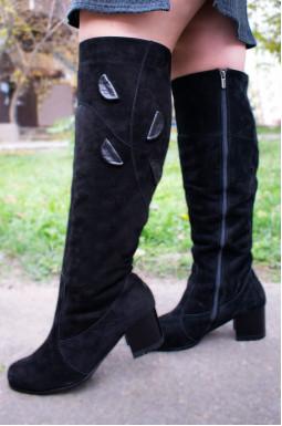 Ботфорты замшевые на каблуке больших размеров