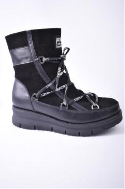 Напівчоботи замшеві зимові зі шнурівкою