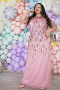 Платье  длинное с камнями супер батал