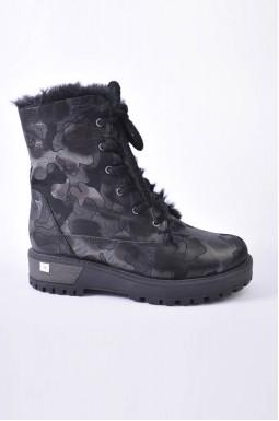 Ботинки зимние кожаные на шнуровке