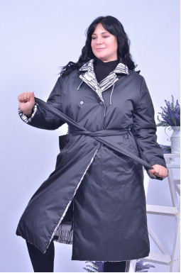 Пальто холлофайбер з поясом батал